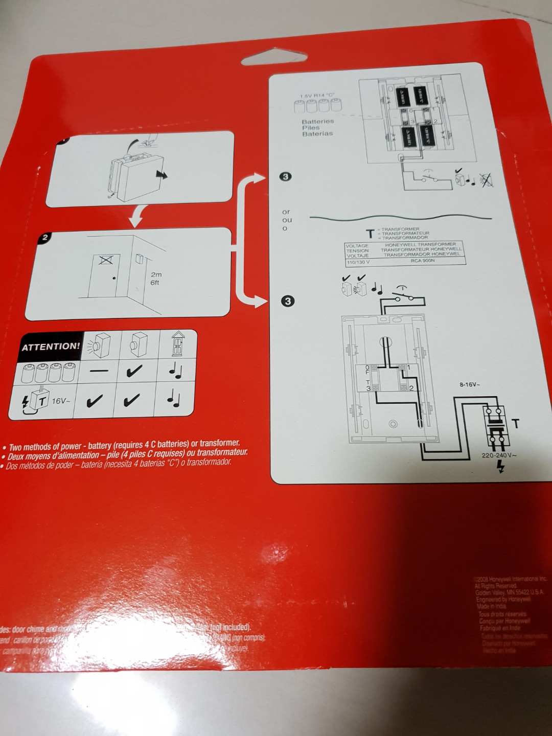 Honeywell Wired Door Chime White RCW100N1000/N, Electronics, Others ...
