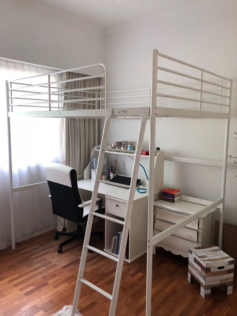 Picture of: Ikea White Queen Sized Bunk Bed Loft Bed Furniture Beds Mattresses On Carousell