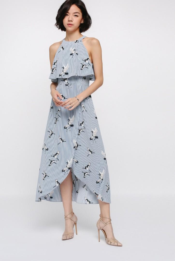 Love Bonito Monae Printed Layer Midi Dress (size m)