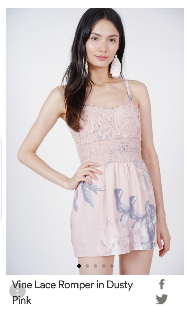 76c03f007e MDS Vine Lace Romper in Dusty Pink