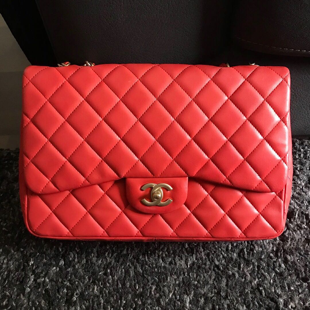 11c057c8d242 ❌SOLD!❌ Chanel Jumbo SF in Coral Red Lambskin Matte GHW, Luxury ...