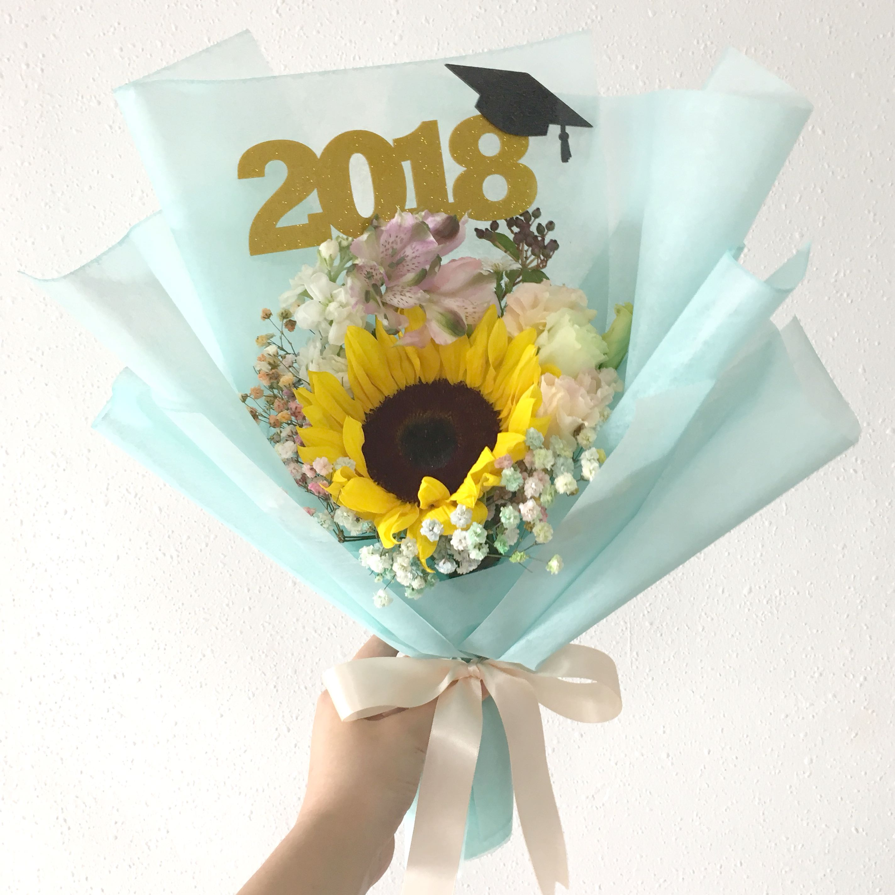 Sunflower Bouquet Graduation Flowers With Limited Edition Topper