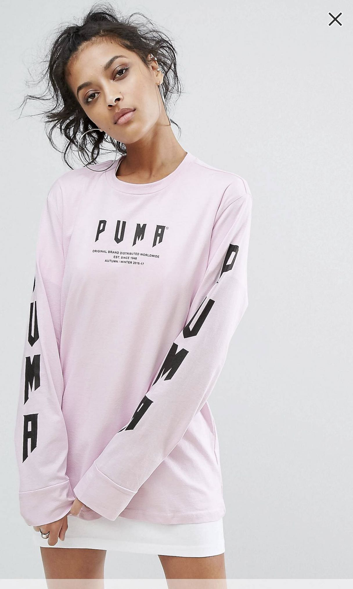 18f33b76bb8e UK6) PUMA Oversized Long Sleeve T-shirt