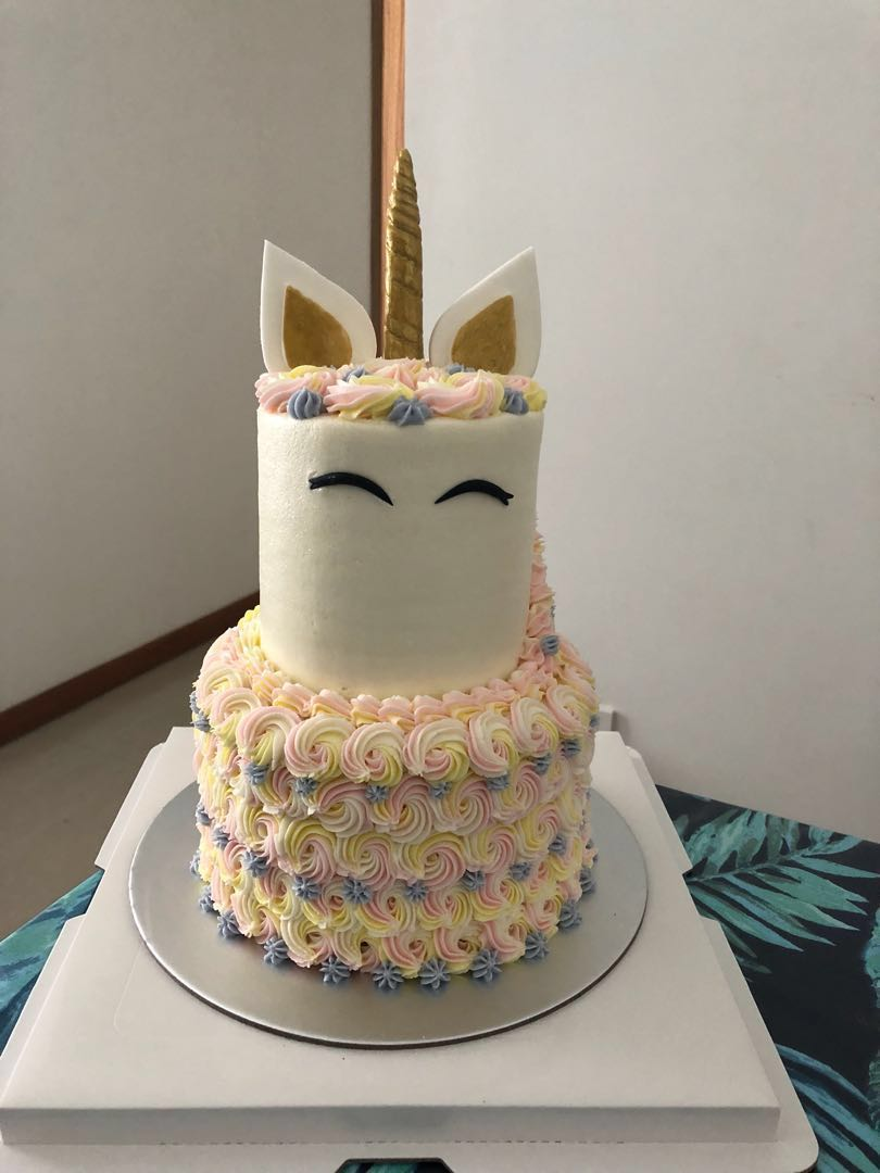 Unicorn 2 Tier Cake Food Drinks Baked Goods On Carousell