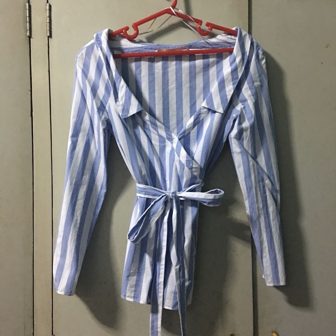 be3f4fc10bad4 Zara Striped Off Shoulder Polo Top