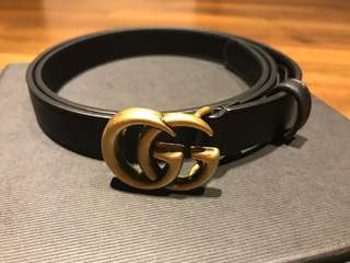 Brand New Gucci GG Marmont Skinny Belt in Black GHW size 80mm