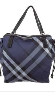 Burberry Navy Blue Packable Nylon Check Totebag