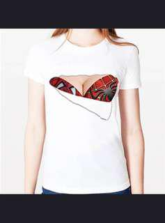 3D Funny T-Shirt Spider Girl Fake Bra