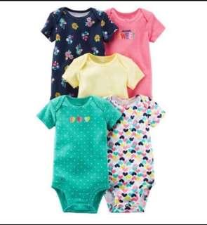 🚚 *9M* BN Carter's 5-Pack Short Sleeve Bodysuits For Baby Girl