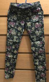 黑色玫瑰花print skinny jeans