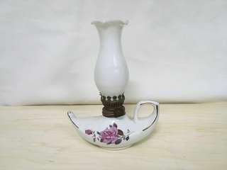 古董 喇叭花形玻璃燈罩 陶瓷 火水燈
