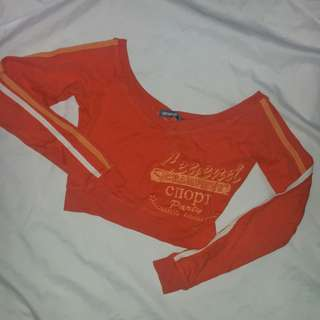 Orange long sleeves crop top