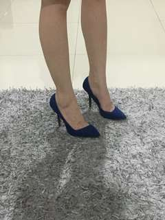 Zara suede heels electric blue