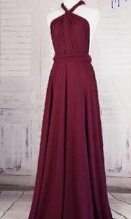 Burgundy infinity dress