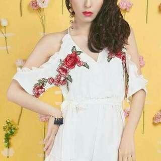 🚚 刺繡玫瑰連身裙褲