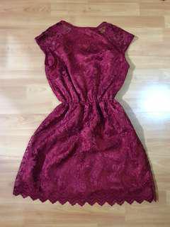 Red Maroon Lace/Brookat Dress
