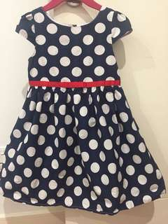Polka Dot Blue & White Dress (4-5yo)