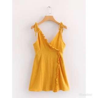 Ready Stock Mustard Self Tied Dress