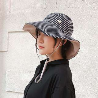 🎈韓版條紋休閒防曬漁夫帽 多色可選 大帽子 遮陽帽 防曬帽 素色素面帽