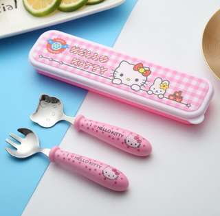 🚚 304 不鏽鋼 兒童餐具組 ( 湯匙🥄、筷子🥢、盒 )