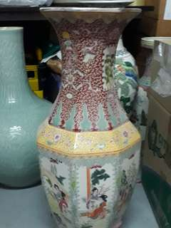 "Old Porcelain Vase 24"" 陶瓷花瓶"