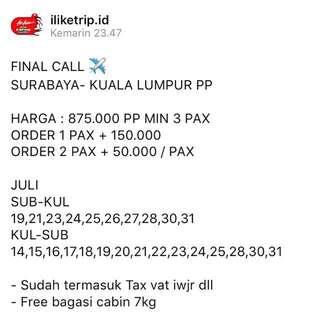 Tiket pesawat Surabaya Kuala lumpur PP