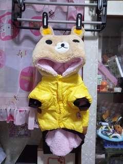 🐶極新 超保暖厚刷毛懶熊造型連帽寵物連身衣