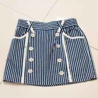 🚚 排扣裝飾條紋短裙