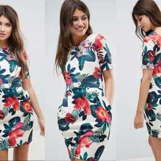 flora bodycon dress with 2pocket