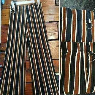 Celana kulot plisket zara garis