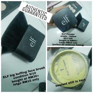 Elf face powder yellow / elf face brush