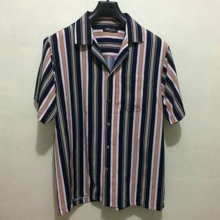 Brand New Pink Blue Striped Button down