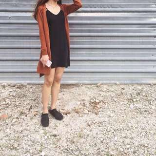 Burnt Orange Long Knitted Cardigan