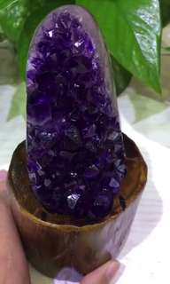 烏拉圭紫晶簇 連木座 消磁座
