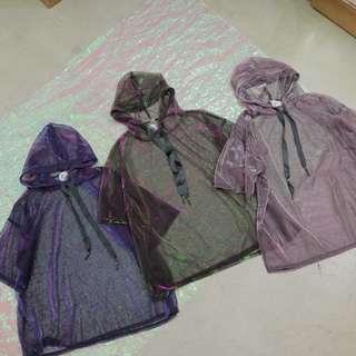 鐳射炫彩透膚細網衣短袖帽t