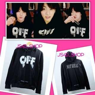 Jaket hoodie offwhite jungkook black