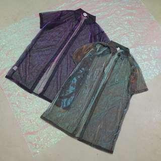鐳射炫彩透膚細網衣短袖長版罩衫外套