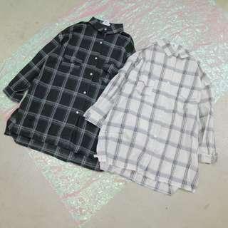 格子中性長袖襯衫