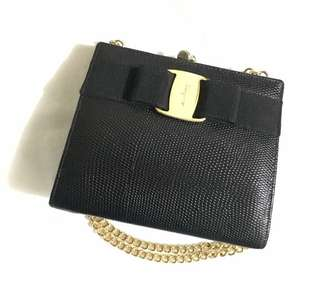 Authentic Ferragamo Clutch Handbag Shoulder chain bag vintage style
