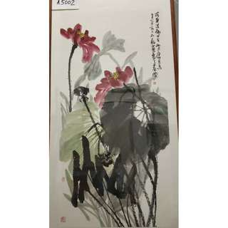 🚚 Chinese Painting Lotus Flower with frame - 水墨画 荷花 A5002 (84x163cm)