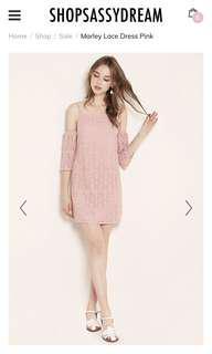 ssd marley lace cold shoulder dress in baby pink