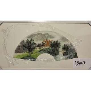 "🚚 Chinese Painting Scenery 国画白底扇面 ""山水"" A5003 (94x49cm)"