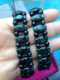 Brazilian Obsidian Beaded Stretchy Bracelet 巴西黑曜石女裝手串
