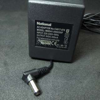 NATIONAL 9VDC 200mA Power Supply Adaptor (MWD41). New, never used