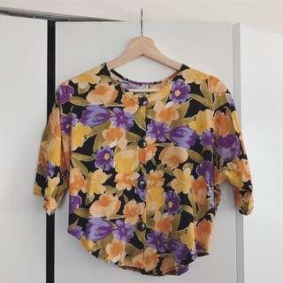 Button Front Floral Blouse
