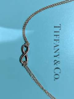 Tiffany silver double chain infinity necklace