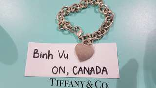 Tiffany link bracelet with heart tag