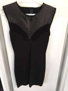 Beautiful MARCIANO little black dress with leather detail - originally $150!!!