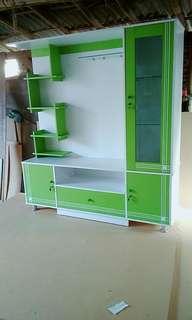 Lemari tv hijau putih