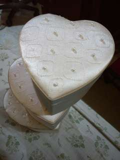 3 White Wedding Heart Boxes